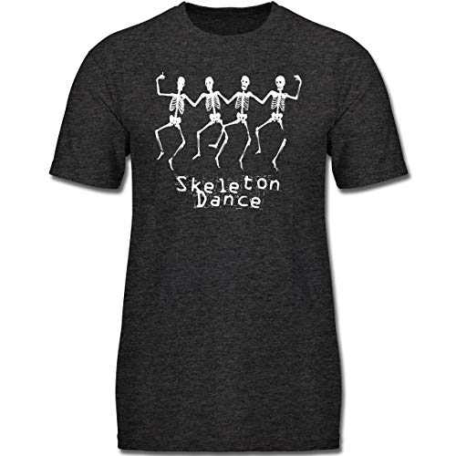 Anlässe Kinder - Skeleton Dance Skelett Tanz - 164 (14-15 Jahre) - Anthrazit Meliert - F130K - Jungen Kinder T-Shirt
