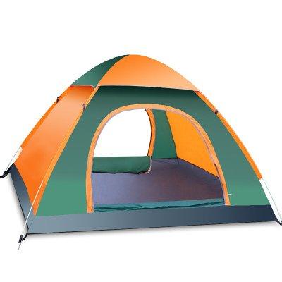 FITFIRST Automatisches wasserdichtes Zelt für 3-4 Familien Camping, leicht Pop-up, baut sich selbst auf,mit Netzstoff und Regenvordach, für Camping und den Außenbereich?Grün&Orange