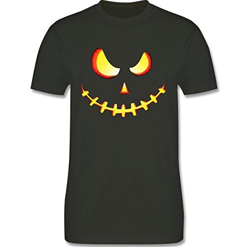 Halloween - Gruseliges Kürbis-Gesicht - L - Army Grün - L190 - Herren T-Shirt (Männer Halloween Kostüme Army)