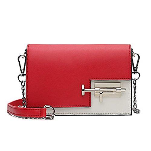DFUCF Damen PU Büro Umhängetasche Besetzung Messenger Bag Handtasche Mode Freizeit Robuste Party Event Red