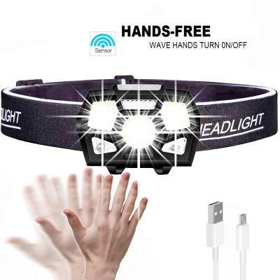 SMAQZ Torcia A LED Torcia A LED A Luce Forte con Sensore USB Ricaricabile Impermeabile Faro Torcia da Corsa per La Pesca Notturna Allaperto per La
