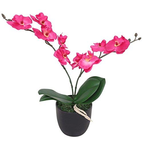 vidaXL Künstliche Orchidee mit Topf Kunstpflanze Kunstblume Dekoblume 30 cm Rot