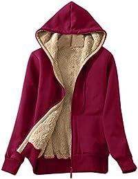 Riou Kapuzenjacke Damen Mäntel Elegant Winter Hoodie Locker Pullover  Strickjacke Winterjacke Frauen mit Kapuze Dicke Gefüttert aece149a6c
