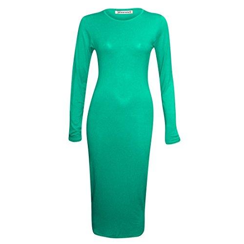 Janisramone ladies pianura manica lunga aderente maglia maxi abito stretch Jade Green