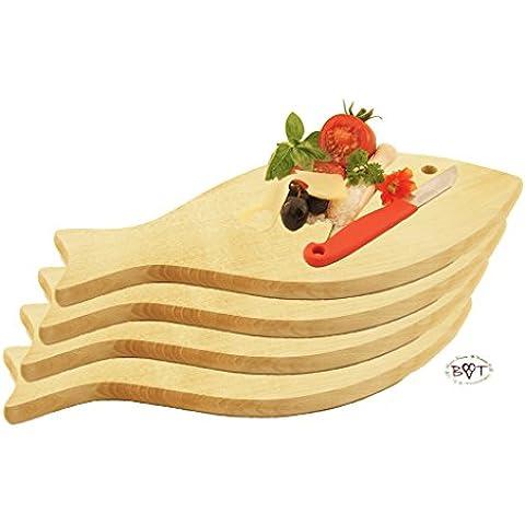 4 x raclette-tabla, pizza-tabla, cócteles vilamoura -, fondue tabla, resistente, de alta calidad de haya-picnic desayuno con pared con tablones de madera, medidas aprox 35 cm x 16 cm, Nuevo diseño de pez como bandeja de madera, tabla de cortar con mango, apto para lavavajillas, tabla de cortar de madera natural, madera de haya