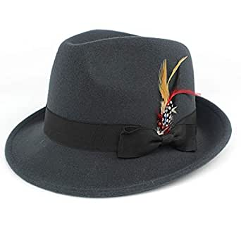 c118609abbf Wool-Like Fedora hat Felt Hat Vintage Hats with Feather Wide Brim ...