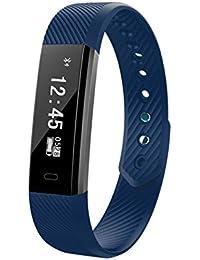 Pulsera Inteligente,Carga USB ID115,Fitness Tracker con Pulsómetros,Cronómetro,GPS para Running,Monitor de Ritmo Cardiac,Notificación de Mensajes,Impermeable IP67,Monitor (Azul Profundo)