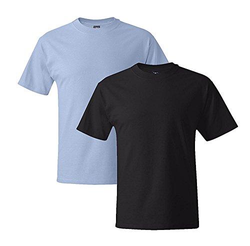 Hanes Mens 5180 Short Sleeve Beefy T, 1 Black/1 Deep Royal 1 Black / 1 Light Blue