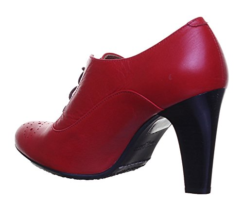 Reece Justin talons hauts pour femme en cuir à lacets Court chaussures Red WT