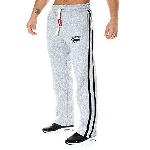 SMILODOX Jogginghose Herren | Trainingshose für Sport Fitness Gym Training & Freizeit | Sporthose - Jogger Pants - Sweatpants Hosen - Freizeithose Lang, Farbe:Grau/Schwarz, Größe:L