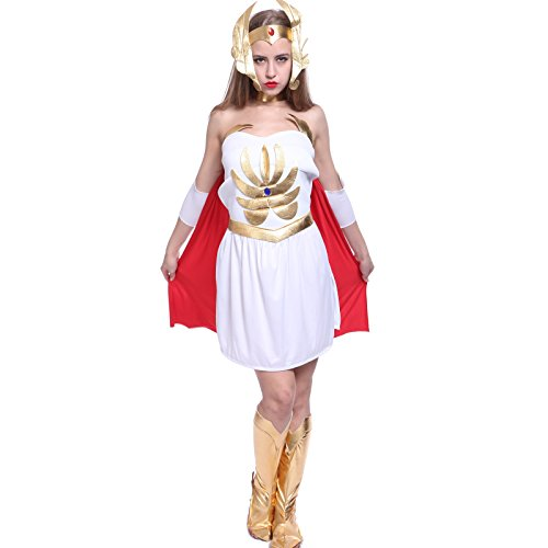 Superhero Damen Karneval Kostuem Fancy DressShe-Ra Prinzessin der Macht Latex Princess Kostuem mit Umhang Kopfschmuck (Fancy Dress Superhelden)