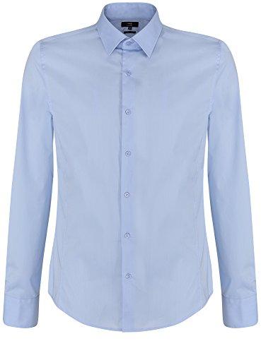 oodji Ultra Uomo Camicia Basic con Maniche Lunghe, Blu, 39cm / IT 44 / EU 46 / S