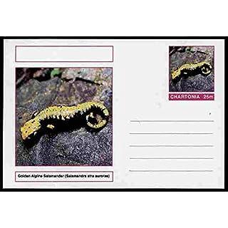 Chartonia (Fantasy) Amphibians - Golden Alpine Salamander (Salamandra atra aurorae) postal stationery card unused and fine AMPHIBIANS SALAMANDERS JandRStamps