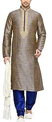 Indian Poshakh Mens Silk Sherwani (1190_38, 38, Grey and Blue)