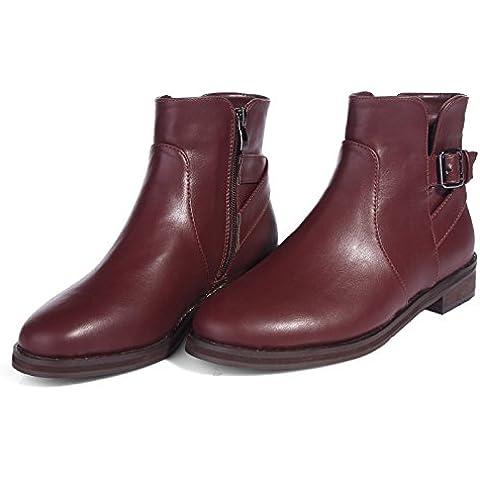 Martin botas, zapatos para invierno botas damas áspero con tubo corto botas retro cremallera lateral de Inglaterra , 2013-5 wine red velvet ,