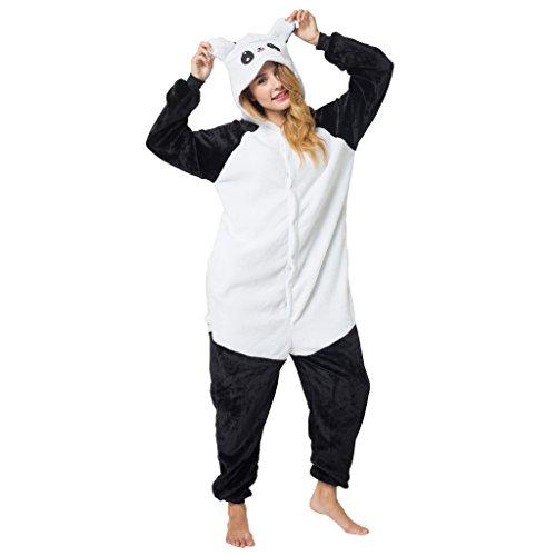 Imagen de katara 1744  kigurumi pijama disfraz de animal traje de dormir para adultos unisex  cosplay, carnaval o halloween  panda costume negro  blanco con capucha s alternativa