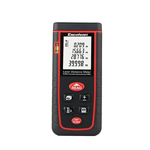 Excelvan RZS60 - Laser Entfernungsmesser Distanzmesser mit LCD Display ( 0,05~60M, ± 5mm Genauigkeit, 30 Datensätze speichern, Auto-Korrektur, Auto-Berechnung, für Bau, Industrie, Räume, Wohnungen, Gebäude, Fabriken, Lager, Gärten )