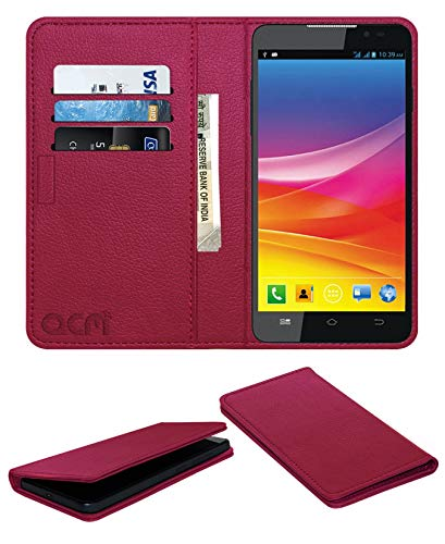 Acm Rich Leather Flip Wallet Front & Back Case for Micromax Canvas Nitro A311 Mobile Flap Magnetic Cover Pink
