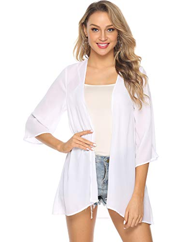 b99a9eb48 Abollria Women s Beach Cover Up Chiffon Boho Summer Cardigan Kimono Blouse  Swimwear