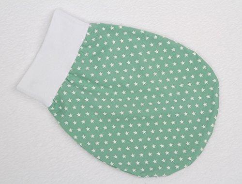 Schlafsack Strampelsack Pucksack LILAKIND Frühling/Sommer Sterne Mint Weiß 0-3 M