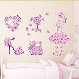 Newberli Bunte Blumenmädchen Tasche Schuhe Schmetterlinge WandaufkleberKinderzimmer Herz Wandtattoos Mädchen Schlafzimmer Dekor Wandbild Poster