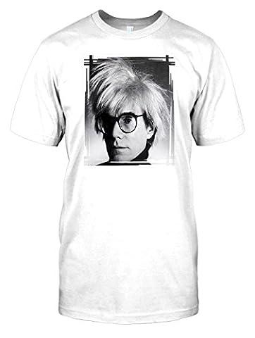 Mens t-shirt DTG Print - Andy Warhol - BW - Pop Art - Famous Faces - White - Mens 38-40