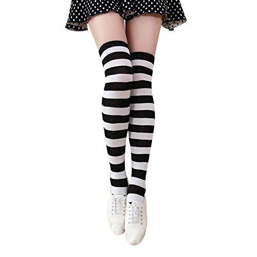 CHIC DIARY Overknee Strümpfe Damen Mädchen Cheerleader Kostüm College Gestreifte Kniestrümpfe Sportsocken (Nylon Spandex Kostüm)