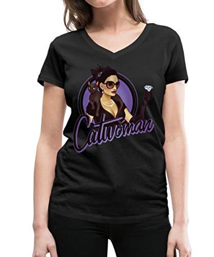 Spreadshirt DC Comics Bombshells Catwoman Frauen Bio-T-Shirt mit V-Ausschnitt von Stanley & Stella, M, (1940er Jahre Pin Up Girl)