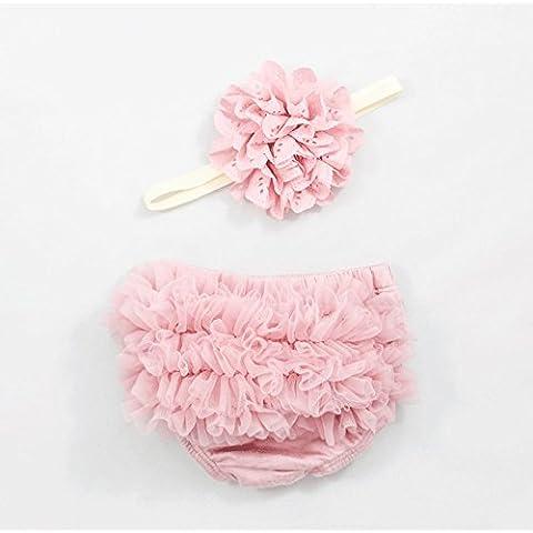 Ruffle Bloomer e pizzo fiore Infant fascia Set, neonato Baby