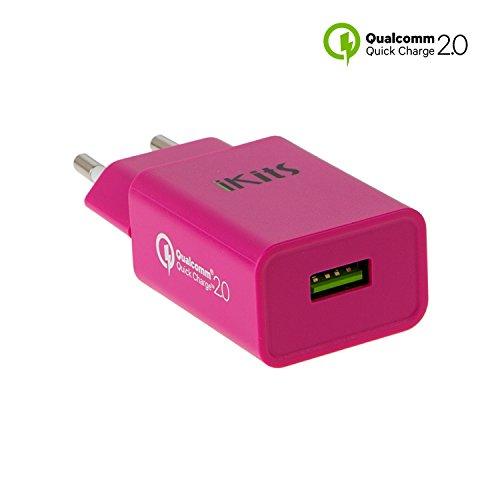 [Qualcomm certificato] caricabatterie da muro USB iKits Quick Charge QC2.0 AC / caricabatterie da viaggio porta singola QC2.0 ricarica veloce per Galaxy S6 bordo Inoltre, la nota 5 4, Nexus 6 e più Rosy