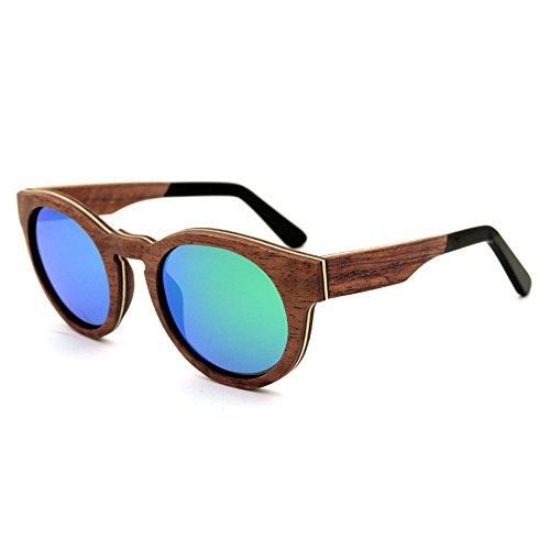 Einfache Brille Retro-Stil runde Form handgemachte Holz umrandeten Sonnenbrille farbige Linse UV400 Schutz für Männer Frauen (Farbe : Grün)