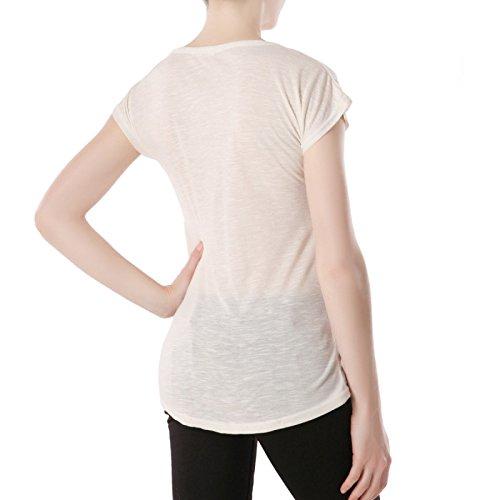 La Modeuse - T-shirt aspect chiné doté de strass à l'avant Blanc