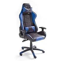 MC Racing 7 Gaming Stuhl, Chefsessel mit Armlehnen, Büro-/Schreibtischstuhl, Sportsitz Optik, inklusiv Kissen, Bezug Kunstleder/ PVC, circa 69 x 125-135 x 58 cm, schwarz / blau, 62497SB3