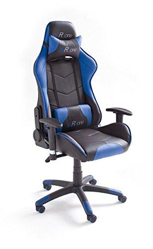 MC Racing 7 , Gamingstuhl, Bürostuhl, Schreibtischstuhl, inklusiv Kissen, schwarz/blau, 69 x 125-135 x 58 cm,  62497SB3