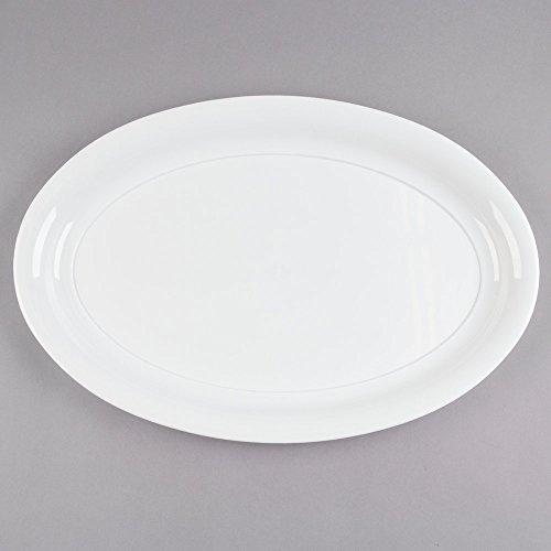 Assiette/plat en plastique très résistant pour le service, ovale et extra large - 35 x 53 cm - blanc