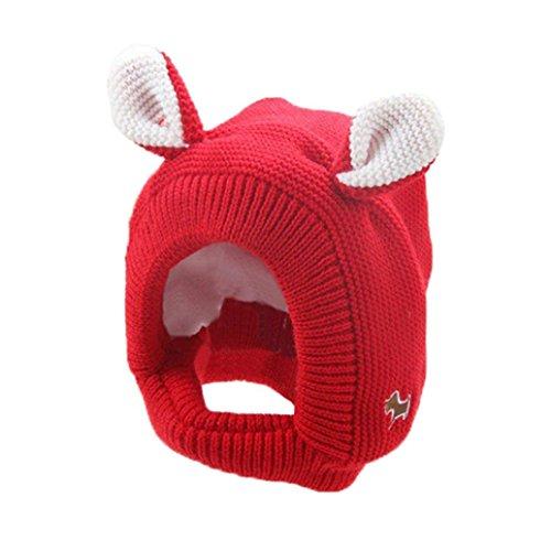 Hunpta Mode Baby Warm süß Ohr Kinder Hut häkeln (Rot)