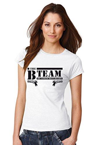 """::: B-TEAM PISTOLE & BRAUT ::: Kombi T-Shirts JGA, Damen Weiß mit Schwarz """"TEAM"""""""