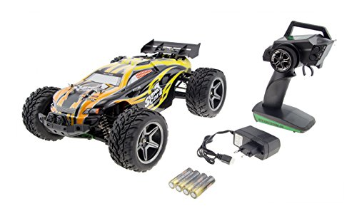 RC Truggy Monstertronic 4WD, 1:10 4WD RC Racing Car 45km/h 2.4GHz Spritzwasserdicht mit 550 Starken Brushed Motor - YELLOW*