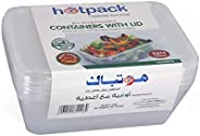 Hotpack Reusable Rectangular Microwave Plastic Container with Lids - 750 ml, 5Pcs - 700CCA