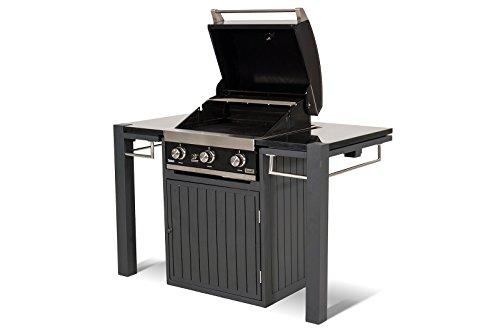 HARTMAN Master Chef Gasgrill mit Grilltisch in xerix, 50 mBar Leistung, hochwertiges Aluminiumgerüst, Arbeitsplatte aus Granit, inkl. Schrank, ca. 140 x 76 x 90 cm, wetterfest, korrosionsbeständig