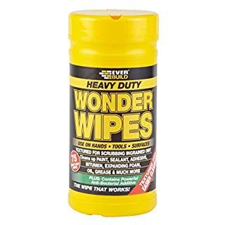 Heavy Duty Wonder Wipes - Textured wipes to clean ingrained dirt from hands, tools and surfaces - 75 wipes