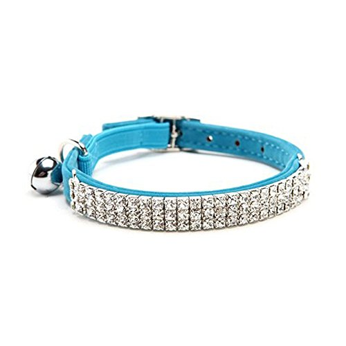 HUKCHI Soft Velvet Safe Cat Adjustable Collar Bling Diamante With Bells,11 inch for small dogs and cats (Blue)