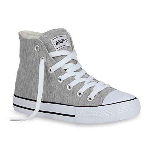Damen Sneakers High Top Kult Schuhe Sportschuhe Schnürer Hellgrau