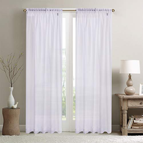 WHITE Voile Curtain Window Panel Opaque Semi Sheer Ideal PATIO BI FOLD BAY Size: 300x230cm/118x90 EXTRA WIDE LONG by Showpiece Curtains and Voiles - Opaque Sheer