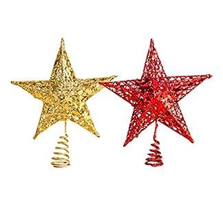 Amosfun-2-Stcke-Glitzer-Weihnachtsbaumspitze-Christbaumspitze-Baumspitze-Baumschmuck-Spitze-Weihnachtsbaum-Stern-Weihnachtsstern-Tischdeko-fr-Weihnachten-Deko