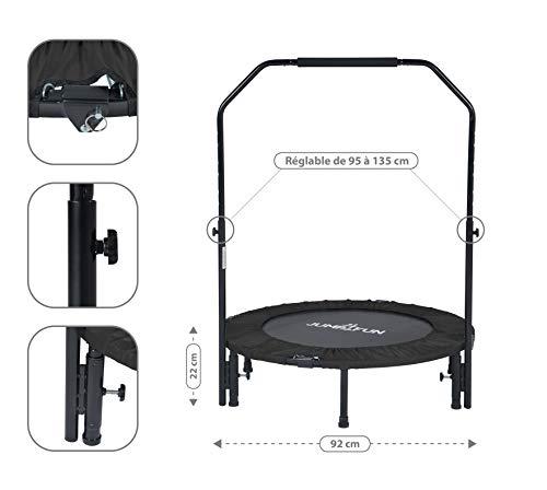 Jump4fun Mini-Trampolin, Fitness, mit 2 Stangen, faltbar, schwarz