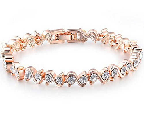 - 41SgXjOI6uL - YEAHJOY 6.8″ Elegant Stylish Hand Chain Charm Bracelet Women's Jewelry Rose Gold Plated Bling S Type Crystal Elements Tennis Clip-on Bracelet