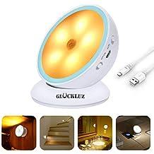 Glückluz Recargable Luces de LED con Sensor de Movimiento Luz LED de Noche con Tira Magnetic