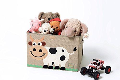 Trureey, grande cassapanca per bambini, con coperchio, contenitore per giocattoli pieghevole e robusto cow
