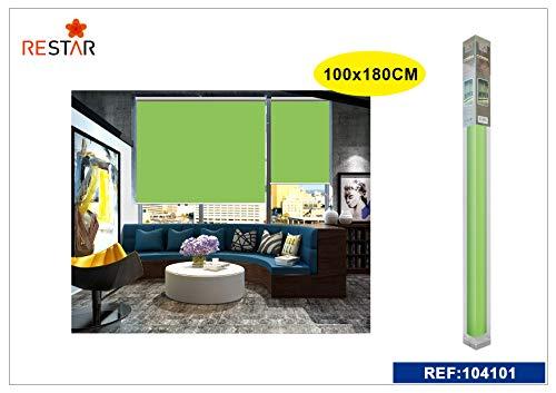 REAL STAR Estor Enrollable translúcido Liso (Verde, 100x180cm)